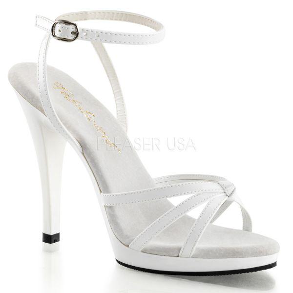 FLA436/W/M weiss Lack    Mini-Plateau Riemchen Sandalette in weiss Lack aus der Kollektion Fabulicious von Pleaser USA